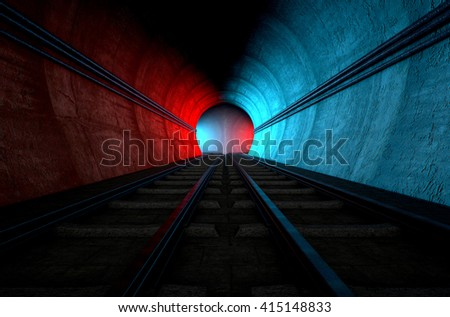 A brick underground train tunnel  that splits into two directions in the distance each distinctly colored blue and red - stock photo