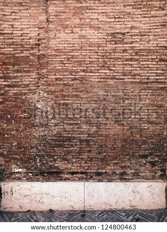 A brick wall shot from further away - stock photo