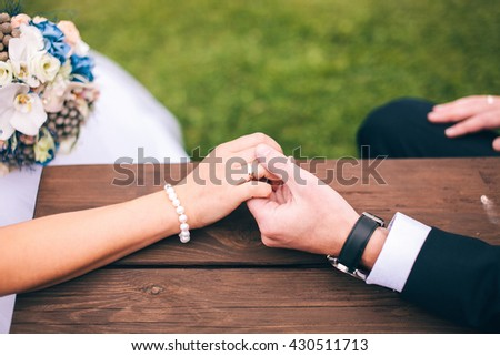 a bridal bouquet on the table - stock photo