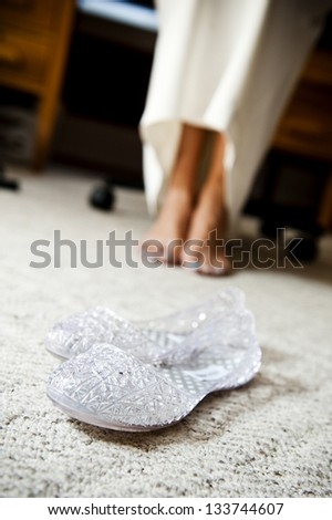 a bride and her slippers - stock photo
