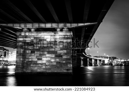 A bridge at night in Washington, DC. - stock photo