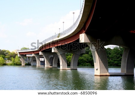 A bridge in downtown Austin. - stock photo