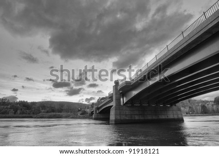 A Bridge Over the Connecticut River, Connecting Vermont and New Hampshire - stock photo