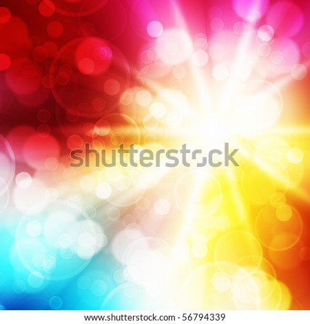 A bright flash in a rainbow background - stock photo