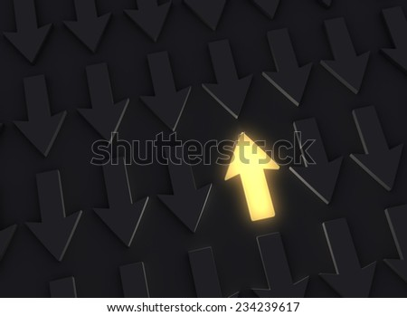 A bright, glowing yellow Up Arrow stands out in a dark field of down arrows - stock photo