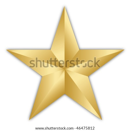 A bright golden star isolated over a white background - stock photo