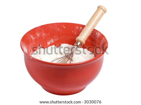 A bright red mixing bowl with flour in it and a wisk. clipping path - stock photo