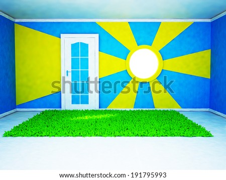 a bright room with an interesting window and a door - stock photo