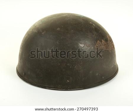 A British World War Two period Dispatch Rider or Paratrooper's steel combat helmet on white background - stock photo