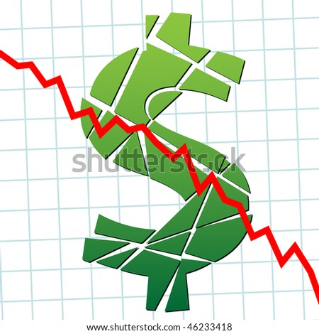 A broken dollar and down chart as a symbol of currency weakness. - stock photo