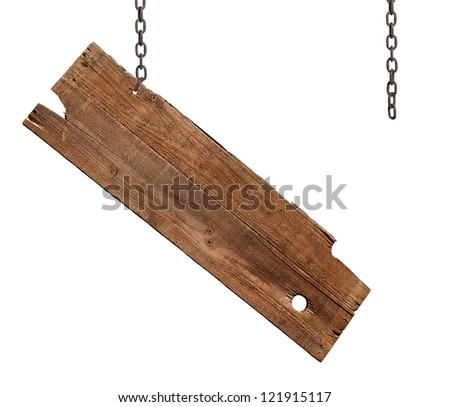 A broken hanging sign isolated on white. - stock photo