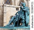 A bronze statue of Constantine I outside York Minster in England - stock photo