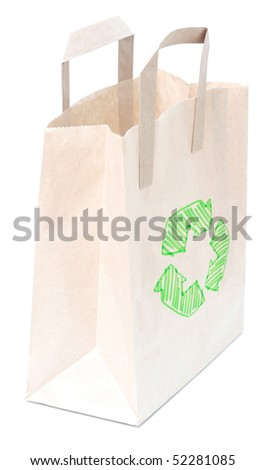 A brown bag isolated on white - stock photo