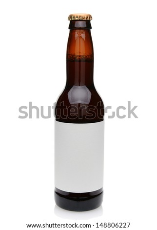 A brown beer bottle with blank label. Isolated on white. - stock photo