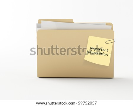 a brown 3d folder with a note paper - stock photo