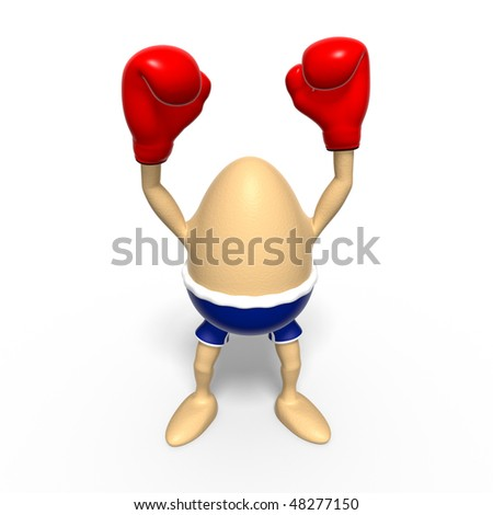 A brown egg with blue boxer-shorts and red boxing-gloves raises both arms after winning a challenge. Isolated on white background - stock photo