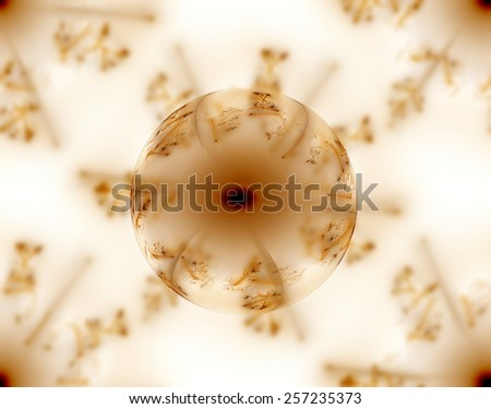 A brown galss abstract fractal globe on a fractal background. - stock photo