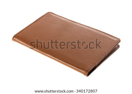 A brown leather wallet cover for money, passport closeup isolated white. - stock photo