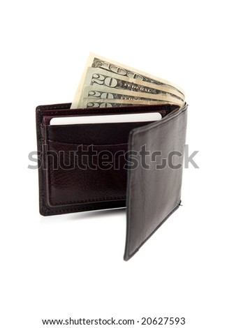A brown leather wallet with money sticking out on a white background - stock photo