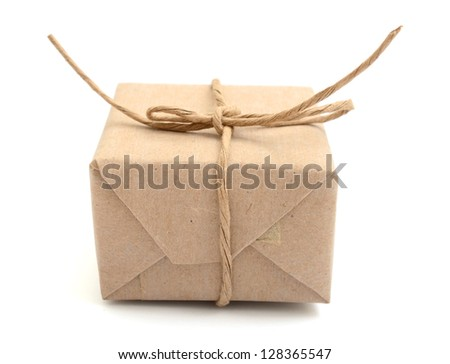 A brown package carton - stock photo