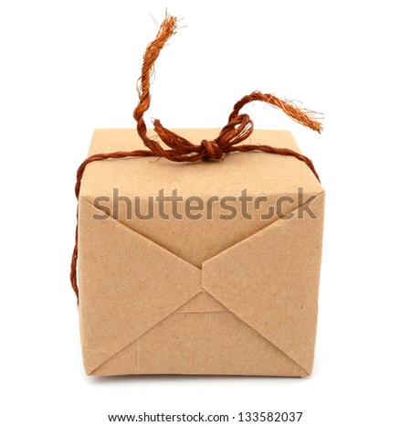 A brown package wrapping box - stock photo