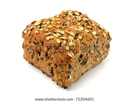 A brown wholemeal bread roll on a white background - stock photo