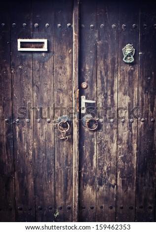 a brown wood old door  - stock photo