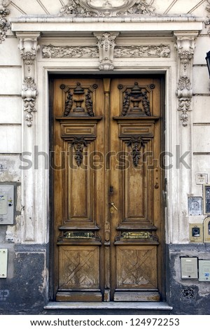 a brown wood old door in the centre of buenos aires argentina - stock photo