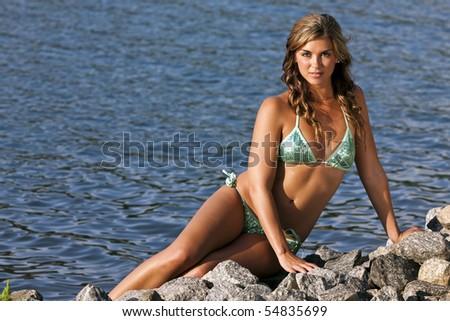 A brunette bikini model posing outdoors against a body of water - stock photo