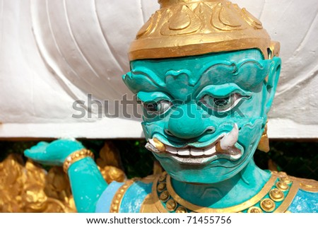 A Buddhist Statue at the Tiger Temple in Thailand Krabi Province - stock photo