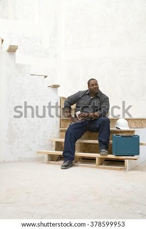 A builder taking a break - stock photo