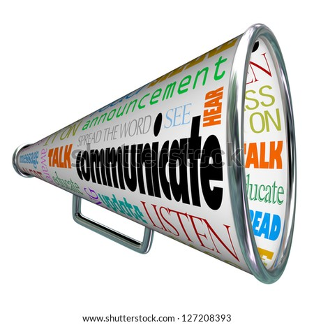 A bullhorn megaphone covered with words describing forms of communication such as talk, listen, hear, see, educate, update and more - stock photo