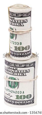 A bunch of 100 American Dollars money notes rolled up and held together with a simple rubber band. Two Rolls, one on top of the other. Isolated on white background. - stock photo