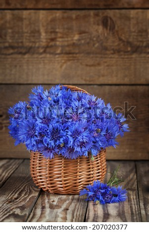 A bunch of beautiful summer flower of Cornflower in the basket. Concept of romantic. - stock photo
