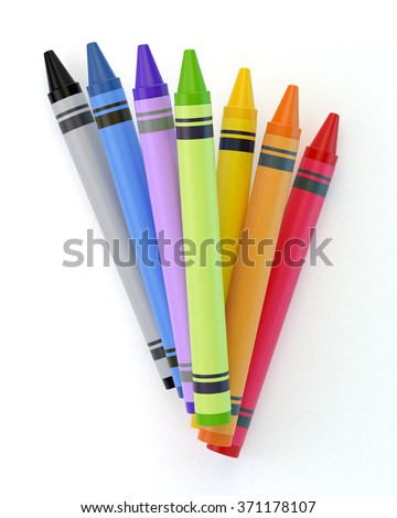 A bunch of colourful crayons. Isolated on a white background. Clipping path is included. - stock photo