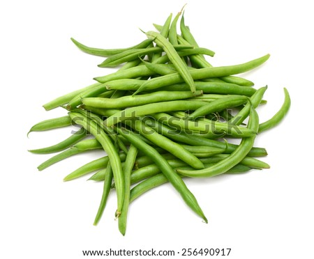 a bunch of green beans on white background  - stock photo