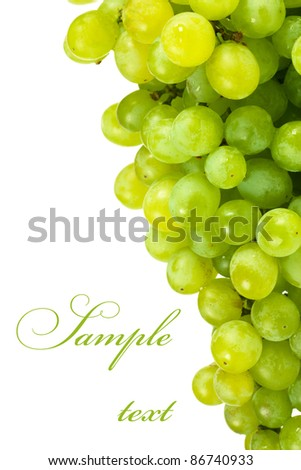 A bunch of green grapes over white background with copy space - stock photo