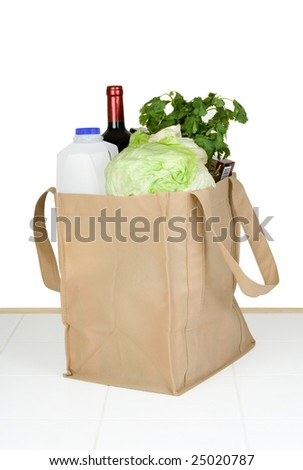 A bunch of groceries in a recyclable shopping bag. - stock photo
