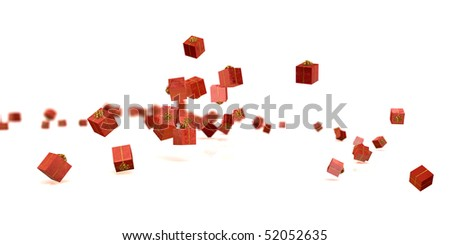 A bunch of present boxes falling down - stock photo