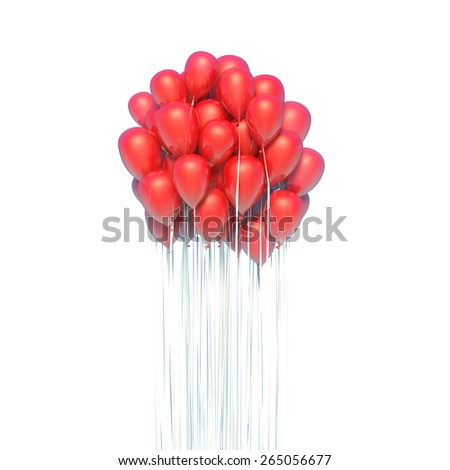 A bunch of red balloons. Isolated white background - stock photo