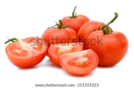 a bunch of red tomatoes isolated on white background - stock photo