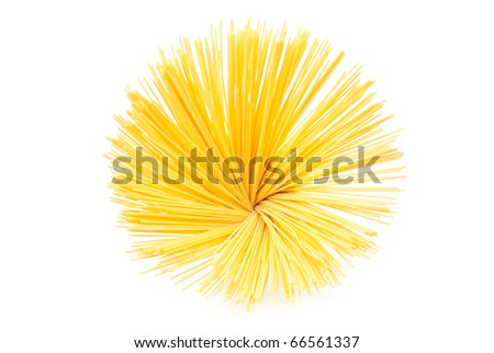 A bunch of spaghetti on white background - stock photo