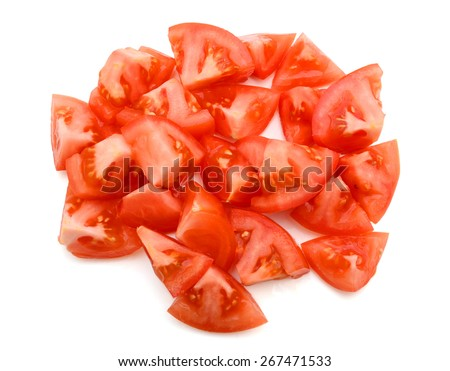 a bunch of tomato slices isolated on white  - stock photo