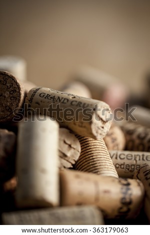 A bunch of wine corks with above some room for text. - stock photo