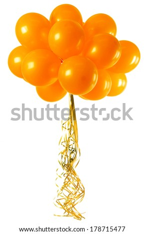 A bunch orange balloons isolated on white - stock photo