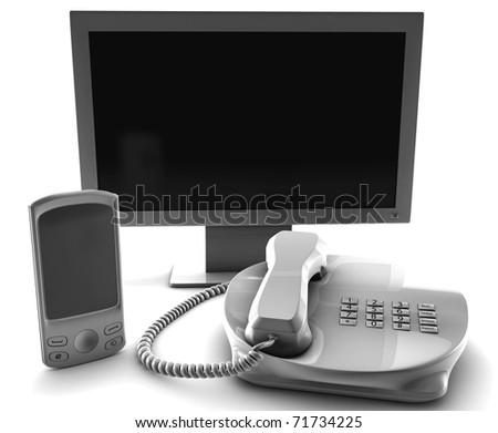 A bundle of TV cell and fix phone  isolated on white - stock photo
