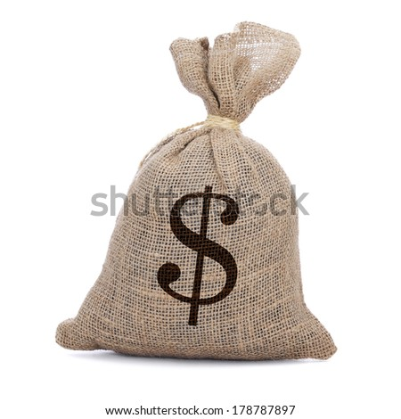a burlap money bag tied with a string on a white background - stock photo