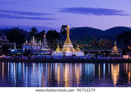 A Burmese style temple in northern Thailand. - stock photo