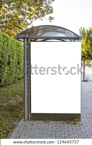 A bus shelter with blank billboard situated in the Turkish town of Side. - stock photo