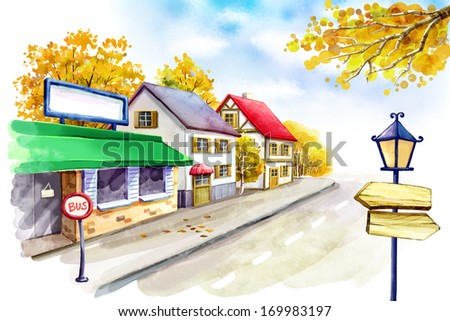 A bus stop on a street lined with buildings. - stock photo